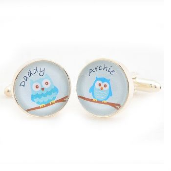 Daddy and Me Owl Cufflinks - Personalised Father's Day Cufflinks